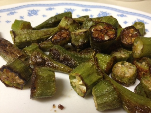 roasted okra finished closeup