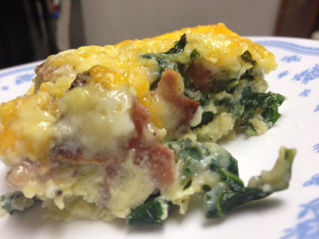 Cheesy, eggy, bacony, kale-y goodness. It got rave reviews from the ...