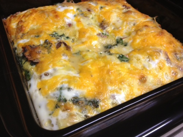Kale, Bacon, & Egg Casserole...super easy, great for a crowd