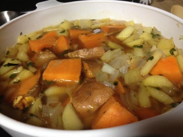 sweet potato soup assembled