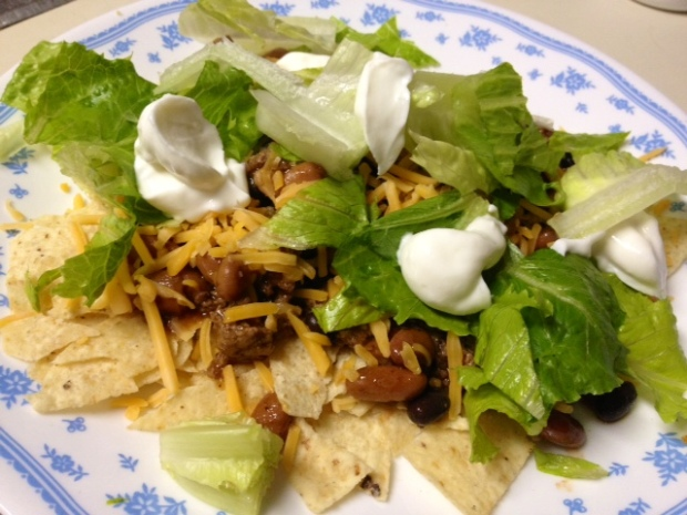 meat & beans finished taco salad