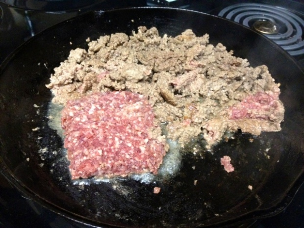 meat & beans hamburger cooking