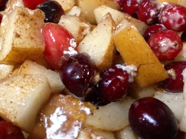 pear cranberry crisp fruit spices closeup
