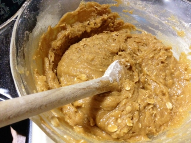 peanut butter oatmeal choc chip cookies dough2