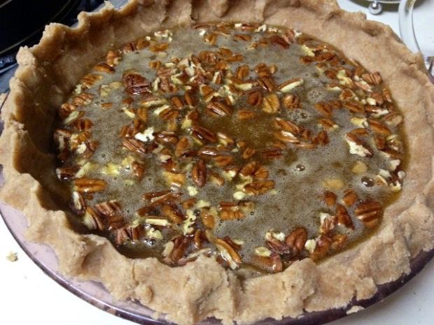 maple bourbon pecan pie assembled