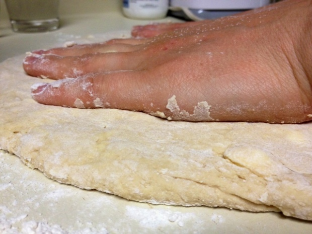 whole wheat biscuits dough patted out