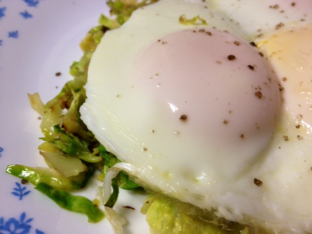 Basted Eggs with Shredded Brussels Sprouts — and how to baste eggs ...