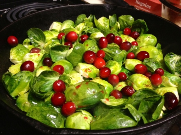 brussel sprouts cranberries sauteeing