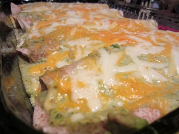 chicken avocado enchiladas finished closeup