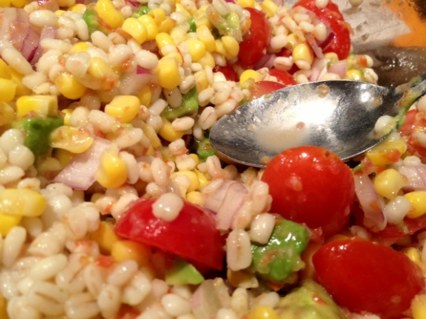 chicken barley corn salad finished closeup