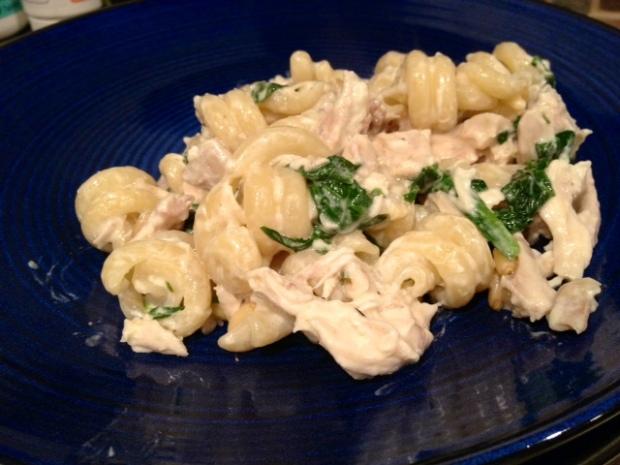 Spinach Chicken Pine Nut Pasta finished
