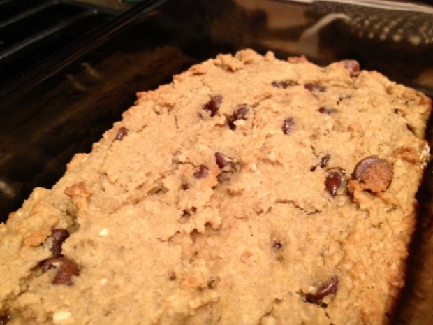 healthy deep-dish chocolate chip cookie pie closeup