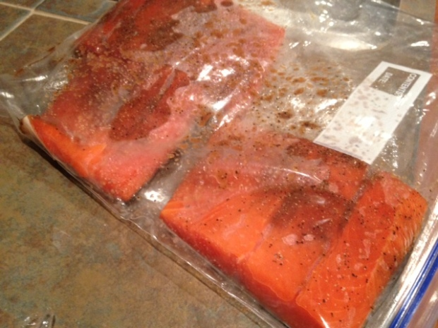 soy glazed grilled salmon marinating