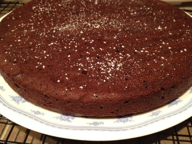 red wine chocolate cake finished powdered sugar