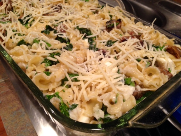 baked pasta with broccolini kale & chicken sausage assembled