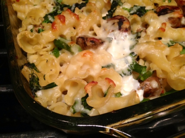 baked pasta with broccolini kale & chicken sausage finished