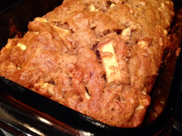caramel glazed apple bread baked