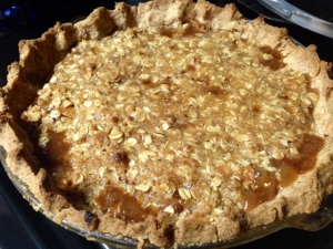 Caramel Pear Pie with Oat Crumble baked