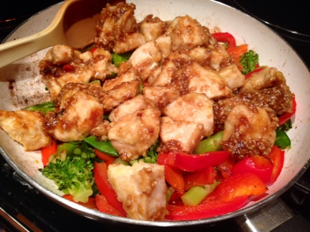 Easy Sesame Chicken with Veggies finished