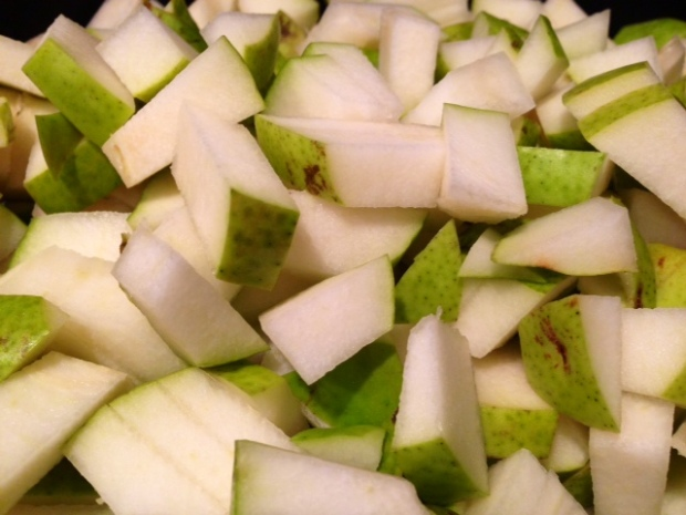 pear honey jam pears diced cooking closeup
