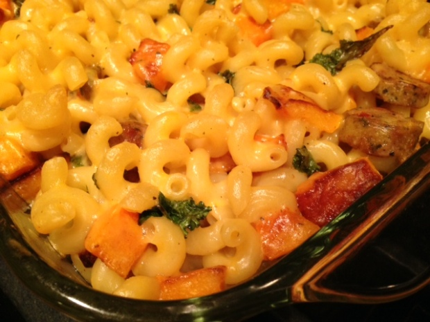 Mac & Cheese with Butternut Squash, Kale, & Sausage baked