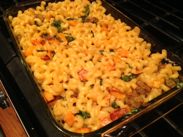 mac & cheese with butternut squash kale sausage baked
