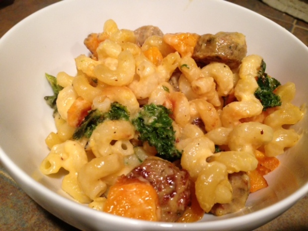 mac & cheese with butternut squash kale sausage closeup