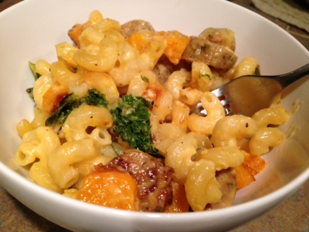 Mac & Cheese with Butternut Squash, Kale, & Sausage
