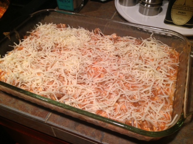 mom's lasagna cheese first layer