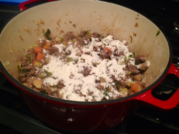 shepherds pie with carrot goat cheese mash meat flour