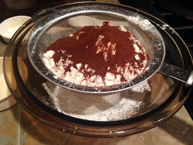 chocolate hazelnut coffee poundcake dry ingredients sifted