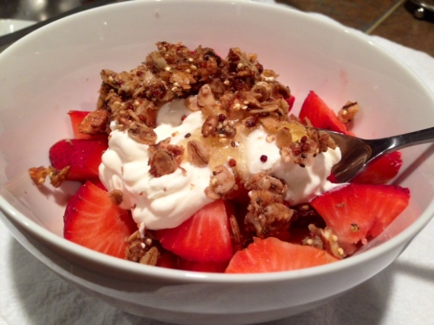 Quinoa Nut Maple Granola with Yogurt & Strawberries