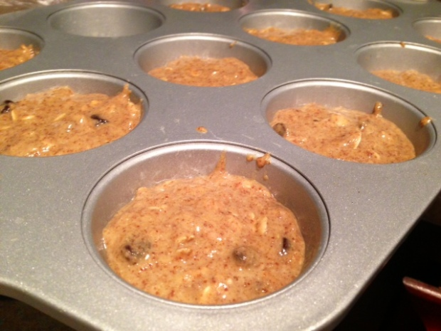 oatmeal flaxseed chocolate chip muffin batter
