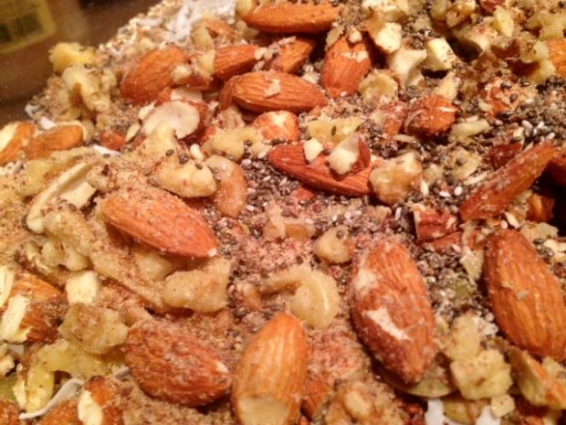 peanut butter quinoa granola almonds walnuts chia