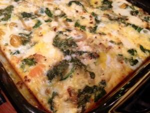 Spinach, Kale, & Feta Egg Casserole done