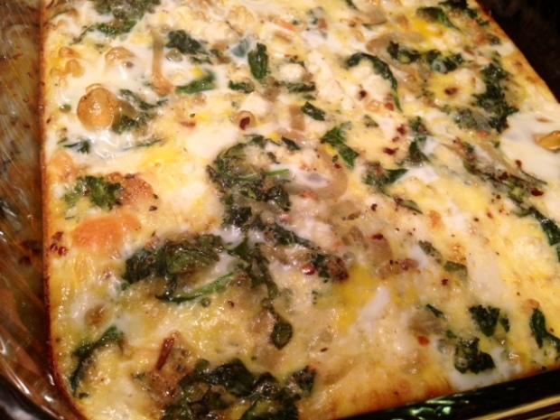 Spinach, Kale, & Feta Egg Casserole