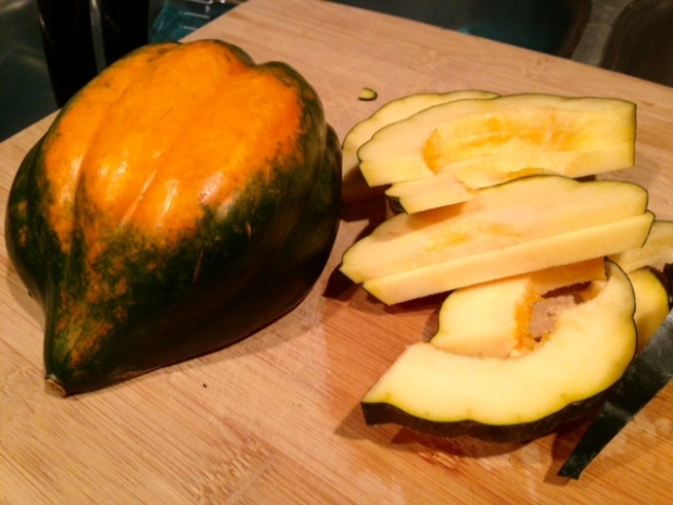 parmesan roasted acorn squash sliced