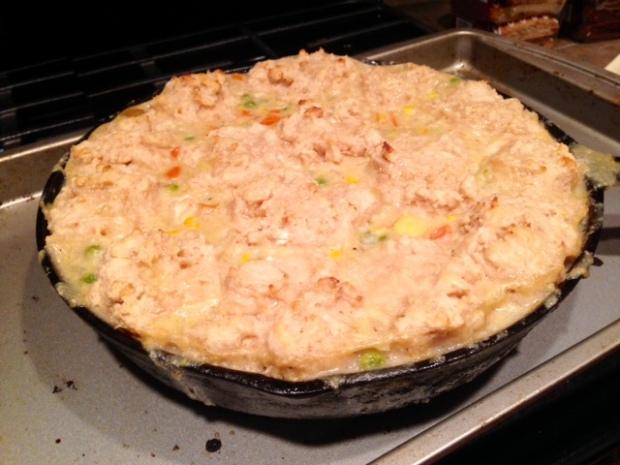 chicken pot pie with drop biscuit crust baked