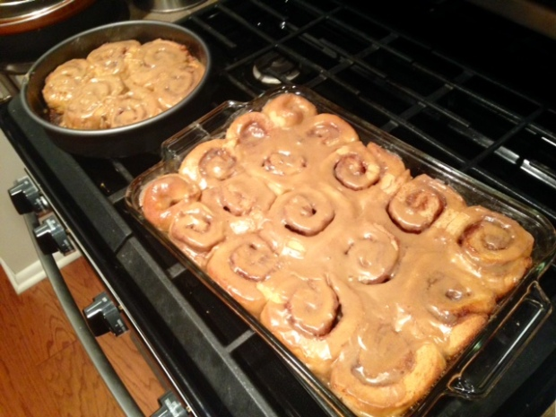 cinnamon rolls with maple frosting glaze setting