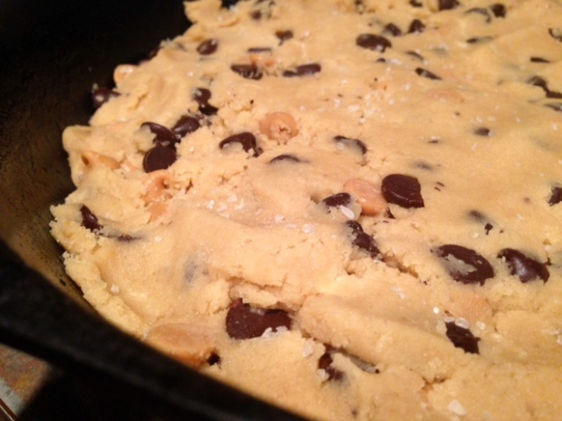 giant chocolate peanut butter chip skillet cookie butter sea salt