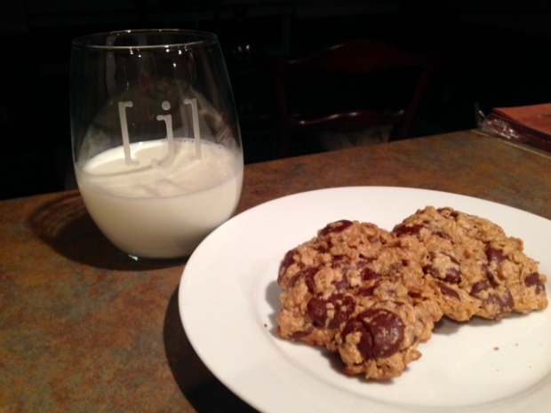 Maple Peanut Butter Oatmeal Chocolate Chip Cookies with Milk