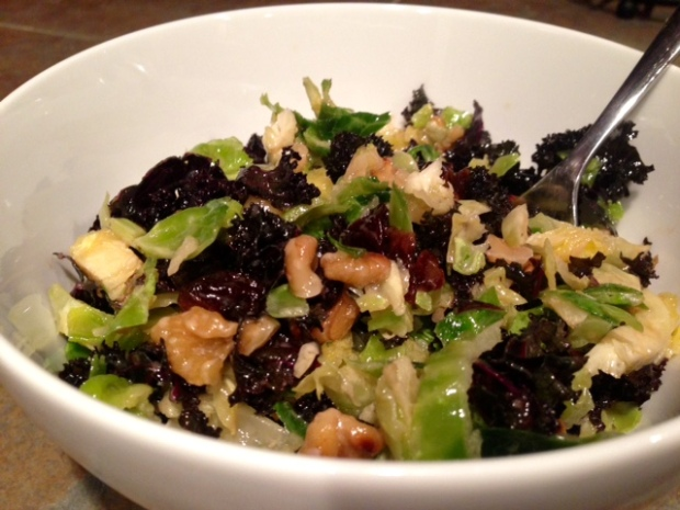 Shredded Brussels Sprout & Kale Salad with Maple-Cider Vinaigrette