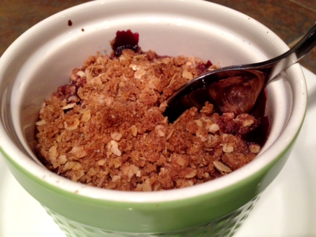 Single-Serving Cherry Crisp done