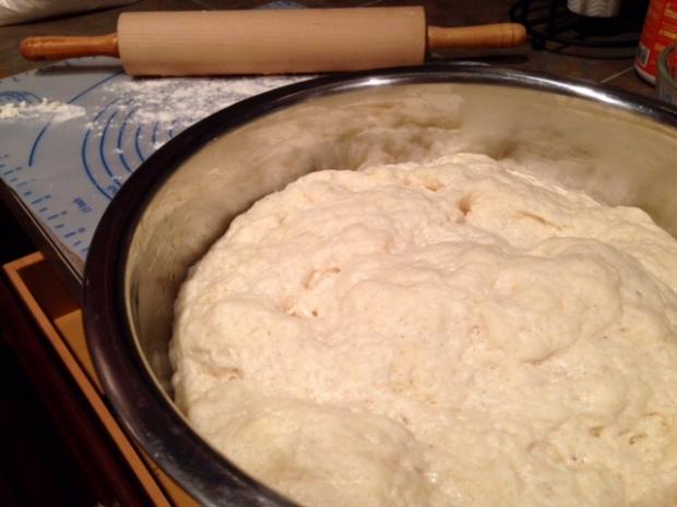 cinnamon swirl bread dough risen closeup