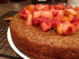 Almond Cake with Fruit Compote done