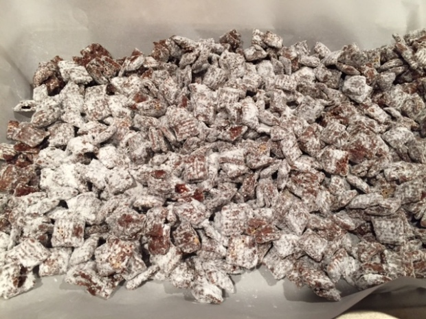 Dark Chocolate Puppy Chow with Sea Salt finished