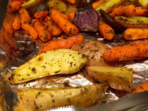 Roasted Carrots & Potatoes with Turmeric closeup