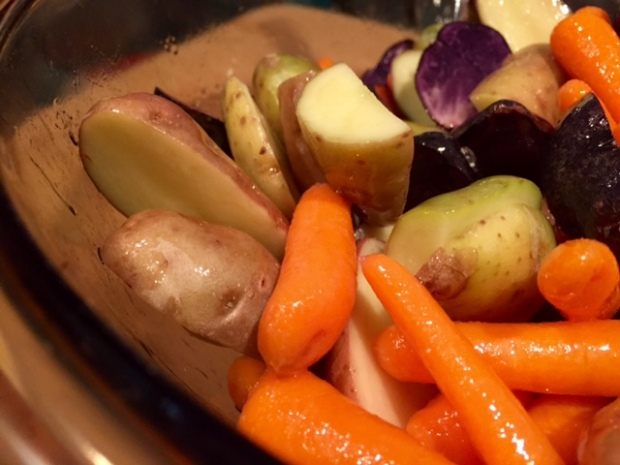 roasted carrots & potatoes with turmeric veggies with oil