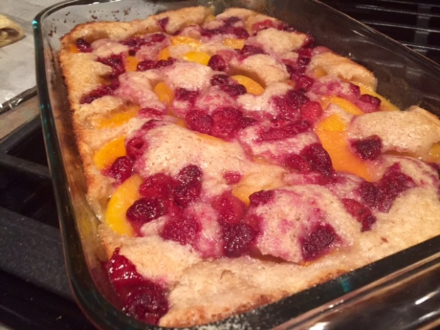 Peach Raspberry Cobbler done