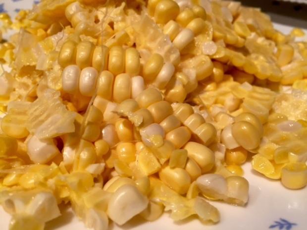 creamy sweet corn & sausage pasta corn sliced